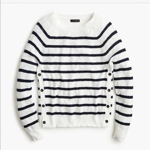 J CREW Vivian Striped Crewneck with Side Buttons